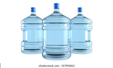 Three big plastic barrel, gallon bottle with a handle for office water cooler. 3D render, isolated on white background.