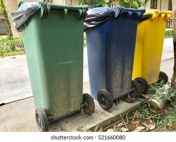 Three bin on the floor in the afternoon