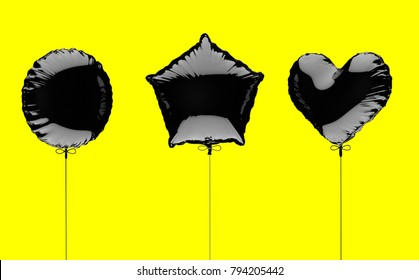 Three black metallized foil balloons on a yellow background. 3d render illustration