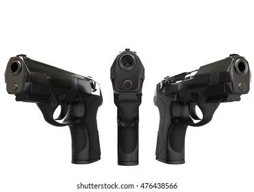 Three black semi automatic pistols - 3D Render