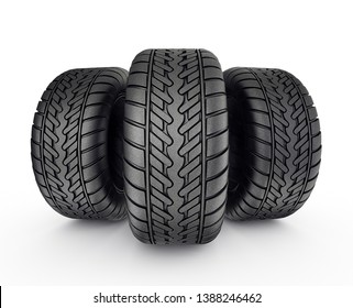 Three Black Tires, Tyres With Shadow Isolated On White Background. High Resolution