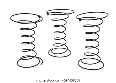 Three Black Wire Springs used in Upholstery on white background