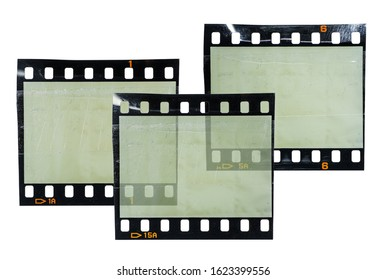 three blank 35mm film snips or strips isolated on white background overlapping each other, cool poster idea, digital collage, empty photo placeholder for your content.