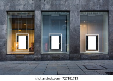 Three Blank Advertisements Shop Window Isolated White Stone Building Wall Public Mock Up