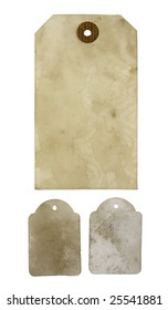 Three blank aged paper hang tags isolated