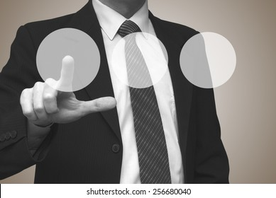 Three blank buttons concept, businessman pressing blank button on virtual screen