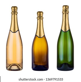 three blank champagne bottles isolated on white