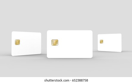 three blank chip cards, can be used as design elements, isolated light gray background, 3d rendering