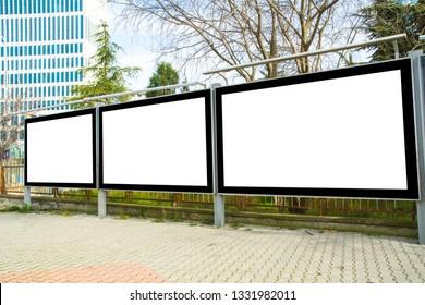 Three blank frame billboard mockup