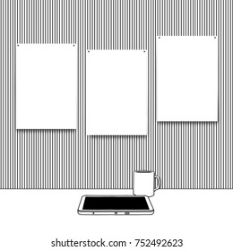 Three blank frames on striped wallpaper background with sketch drawing of tablet and mug