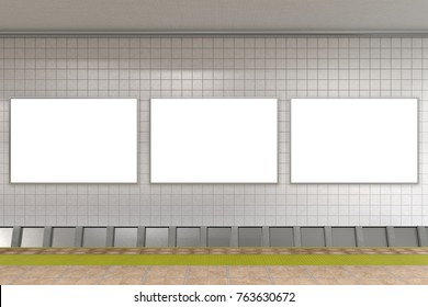 Three blank horizontal advertising posters on subway station. 3d illustration