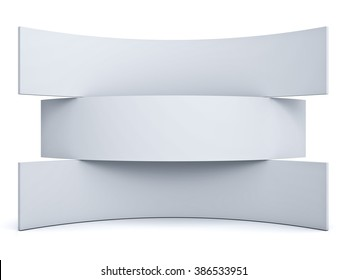 Three blank signboards isolated over white background