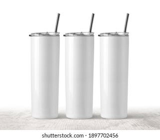 Three Blank Stainless Steel Tumbler with Lid for branding mock up. on wooden  table