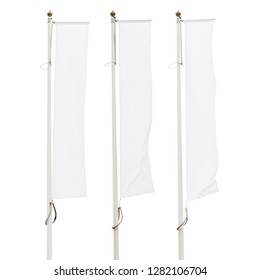 Three blank white flags on flagpoles isolated on white background, corporate flag mockup to ad logo, text or symbol, company identity flag template with copy space