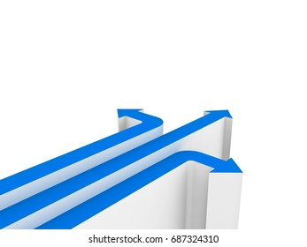 Three blue arrows showing three different directions isolated over white background with blank space . 3D rendering.