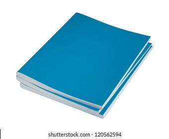 Three blue copybooks on a white background