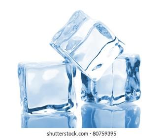Three blue ice cubes isolated on white background