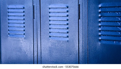 Three blue lockers