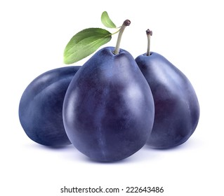 Three blue plums isolated on white background as package design element