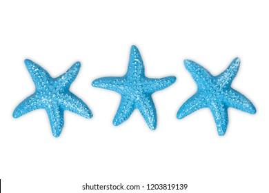 three blue starfish on white isolated