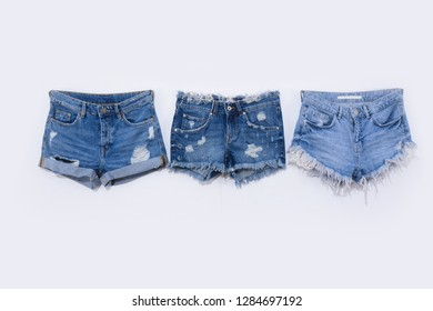 Three Blue ,torn Jeans shorts isolated