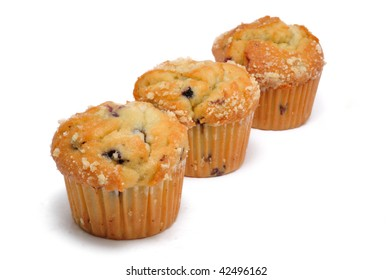 Three Blueberry Muffin Isolated on a White Background