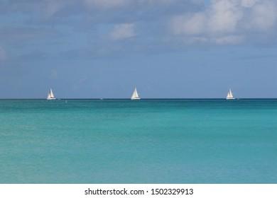 Three boats in a row, Antigua, Caribbean