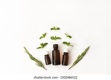 Three bottles of essential oil surounded with fresh herbal green mint leaves and rosemary. flat lay on white background. Medical herbs, design concept. Copy space for text