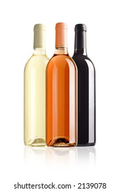 three bottles of wine with paths on white background