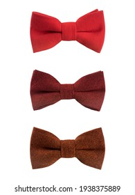 Three bow ties isolated on white background. Men's accessories for wedding