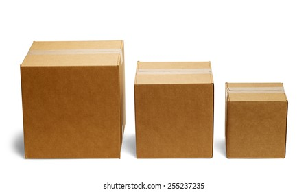 Three Boxes in a Row From Large to Small Isolated on a White Background.