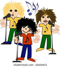 Three boys in band singing and dancing in a band cartoon illustration