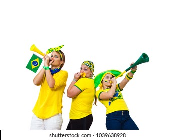 Three Brazilian girls supporters on white background