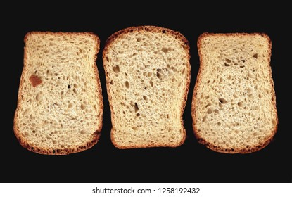 three bread slices in black