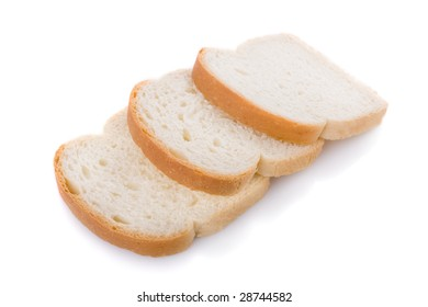 Three bread slices isolated on white background