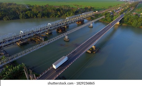 three bridges in one location. Transportation infrastructure in Indonesia