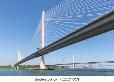 Three bridges, Queensferry Crossing, Forth Road Bridge and Forth Bridge over Firth of Forth near Queensferry in Scotland