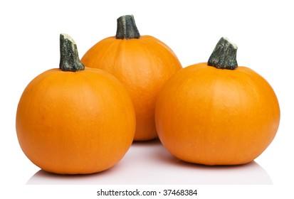 Three bright orange sugar pie pumpkins