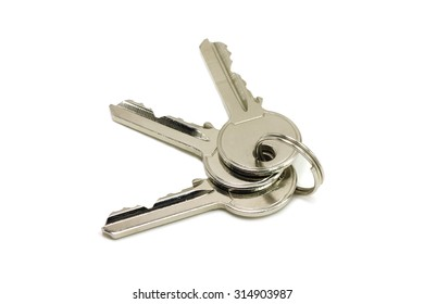 three brilliant key door key on a white background