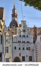 Three Brothers, a cluster of medieval houses in the old town of Riga, Latvia