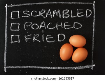 Three brown chicken eggs on a blackboard next to tick boxes for your favourite means of cooking such as scrambled, poached or fried.
