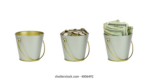 Three buckets with money in a row