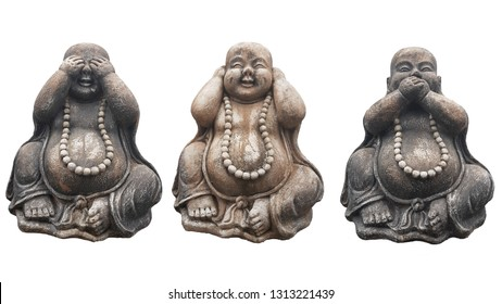 """Three Buddha statues in a pose of three wise monkeys """"See no evil, Hear no evil, Speak no evil"""" isolated on white"""