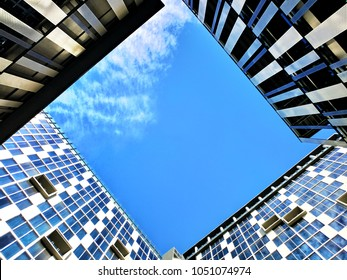 Three Buildings forming a Quadrilateral window to the Sky. It was taken at a hotel in the Philippines.