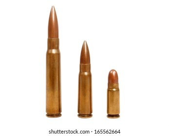 three bullets isolated on white background