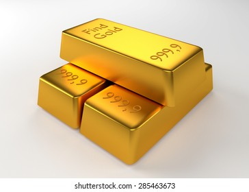 Three bullion of gold lying on each other