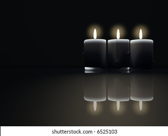 Three burning candles on black background - rendered in 3d