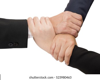 Three business people join hand together on isolated / white background