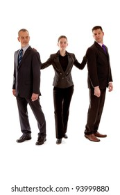 Three business people standing over white background