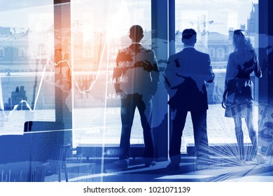 Three businessmen are looking in a panoramic window, the concept of business, collage, multi-exposure